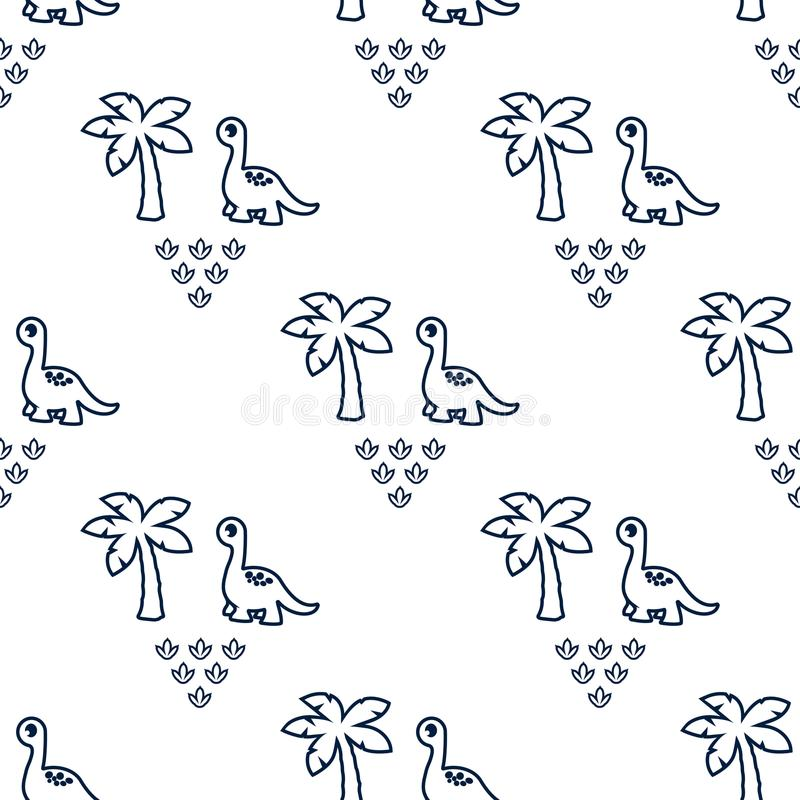 Patroon met dinosaurus en palmen 1 stock illustratie