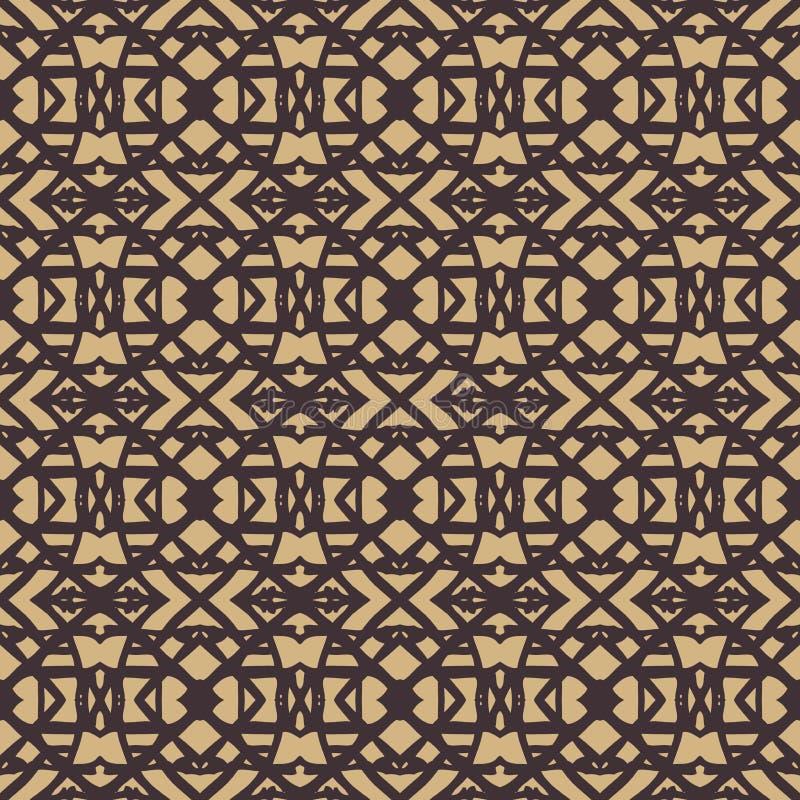 Patroon met donkere lijnen op beige in art decostijl royalty-vrije illustratie