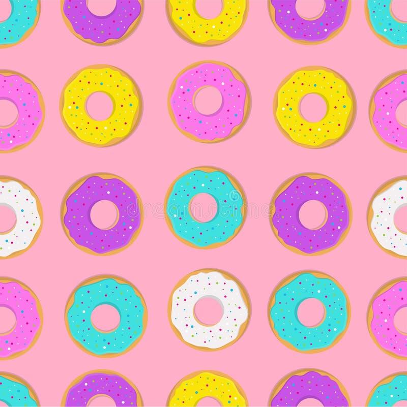 Patroon met doughnutcakes stock illustratie