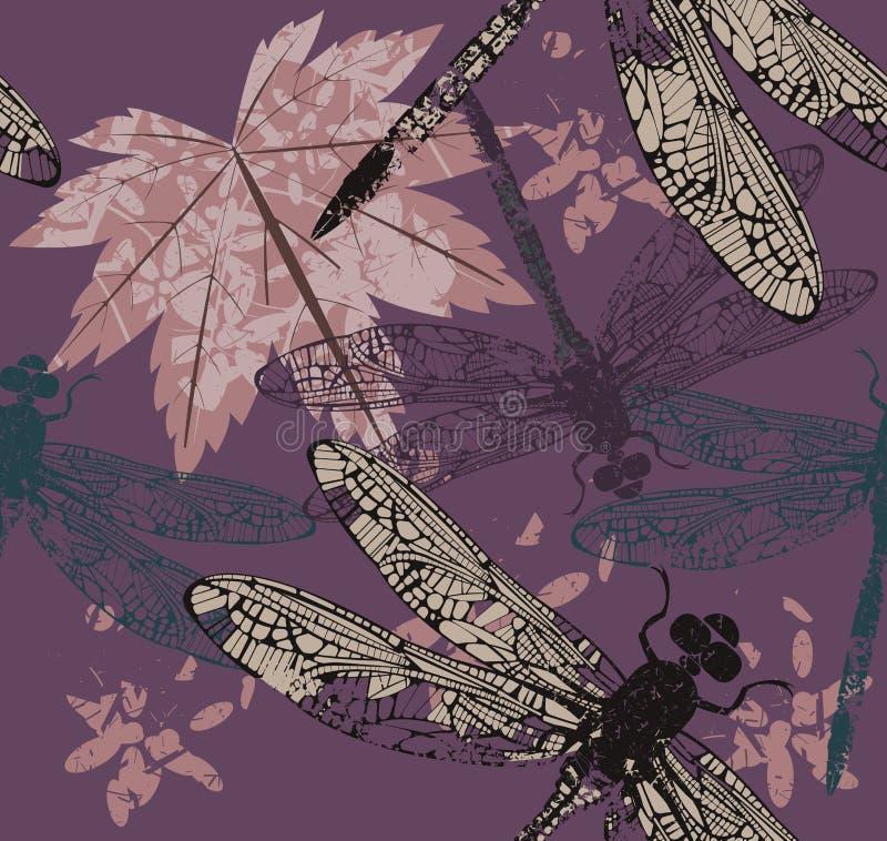 Patroon met esdoornblad en dragonfly& x27; s royalty-vrije illustratie