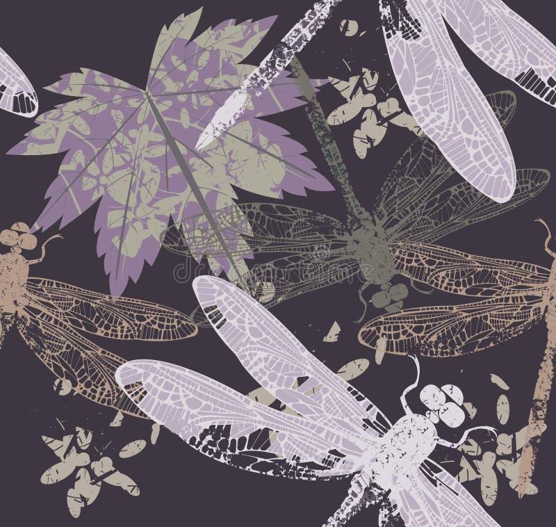 Patroon met esdoornblad en libel vector illustratie