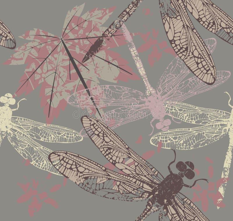 Patroon met esdoornblad en libel stock illustratie