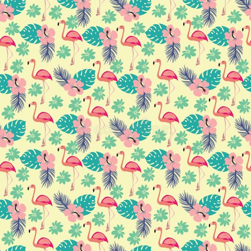Patroon met flamingo en palmbladen, exotische vogels en bloemen royalty-vrije illustratie