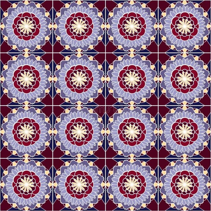 Patroon met geometrische vormen en bloemenelementen stock illustratie