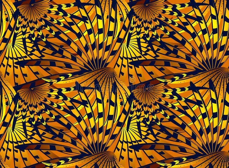 Patroon met gestileerde diepe blauwe en gouden abstracte veren stock illustratie