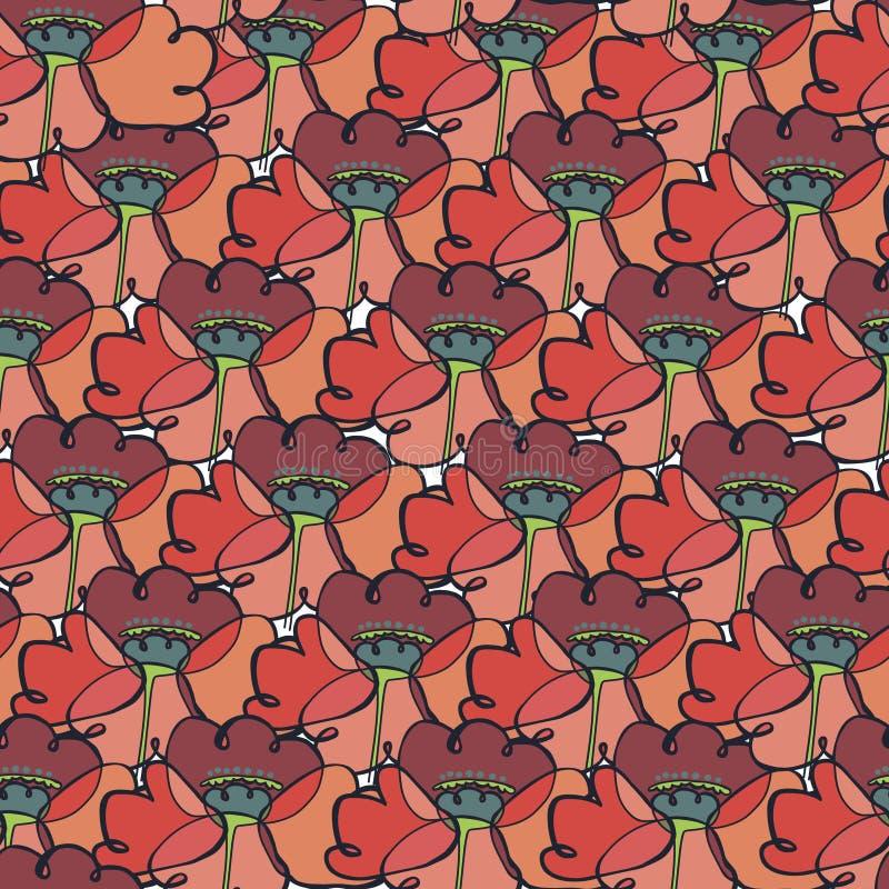 Patroon met gestileerde papavers stock foto
