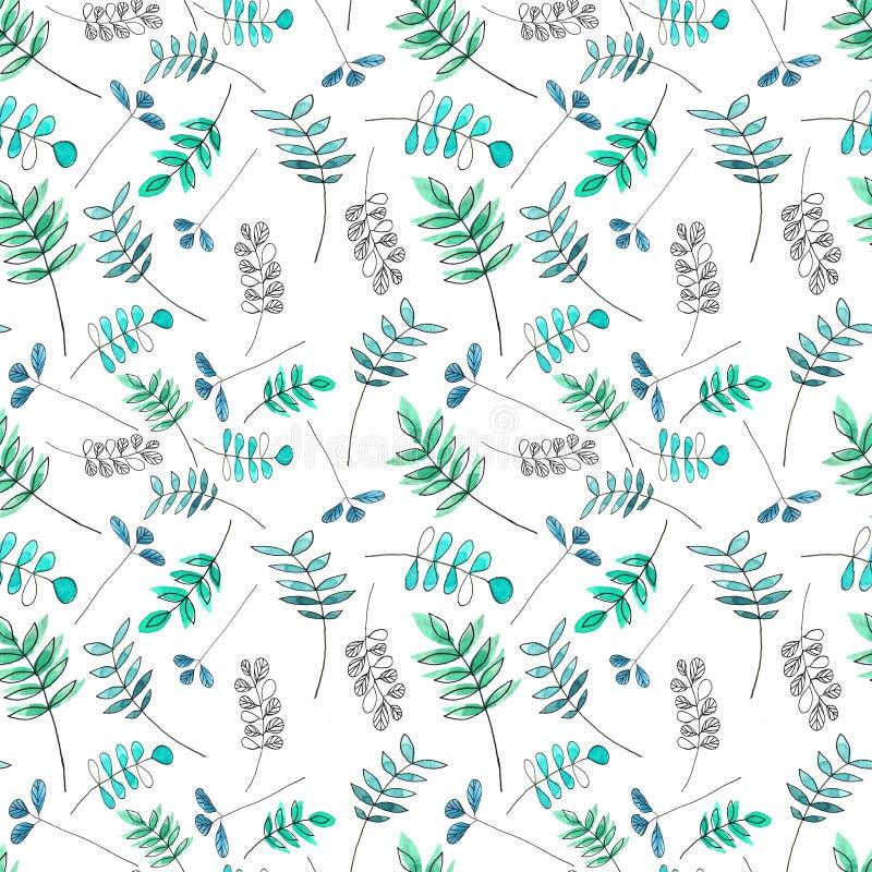 Patroon met groene en blauwe bladeren vector illustratie