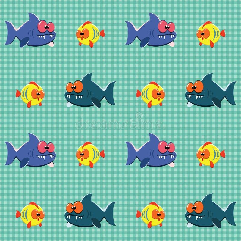 Patroon Met Haaien En Vissen Royalty-vrije Stock Afbeeldingen