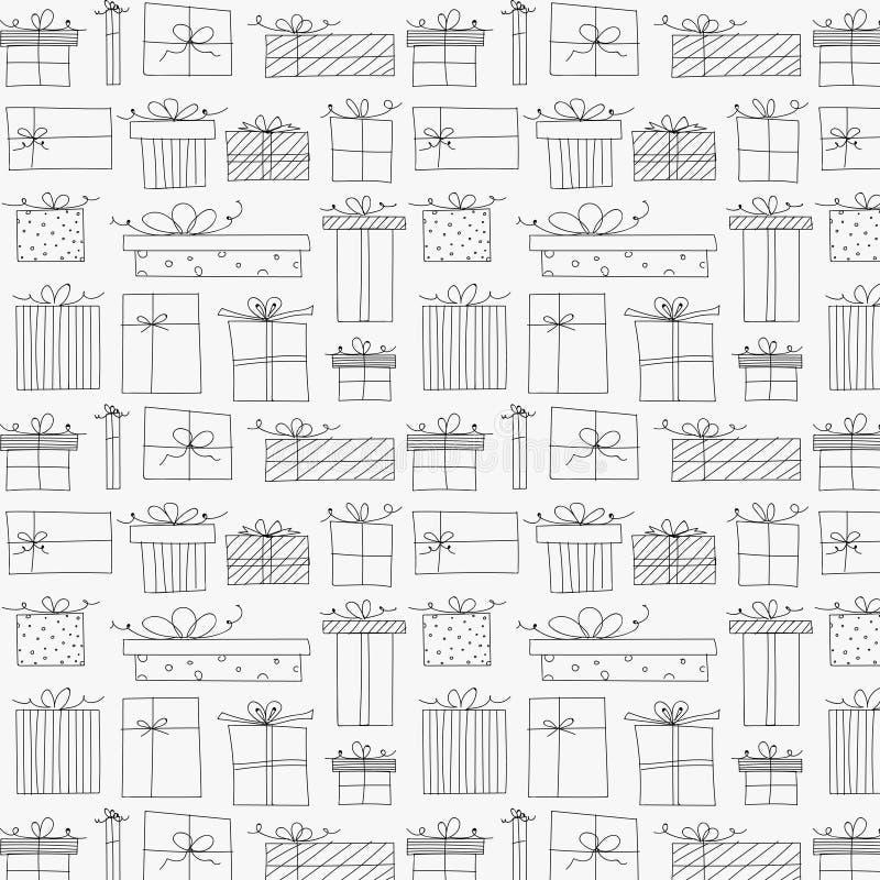 Patroon met Hand Getrokken Giftdoos stock illustratie