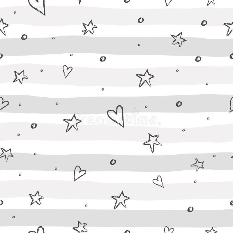 Patroon met hand getrokken hart en sterren stock illustratie