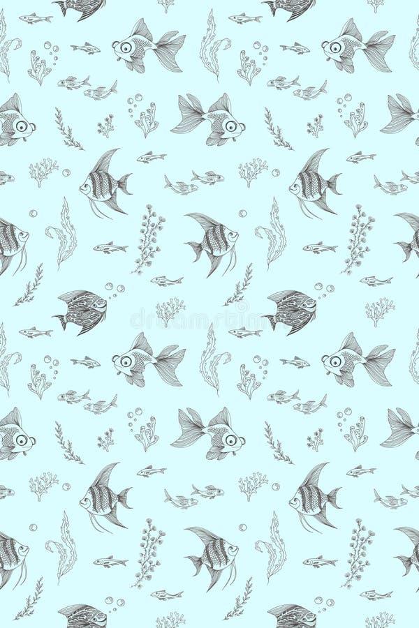 Patroon met het beeld van aquariumvissen, koralen en algen royalty-vrije illustratie