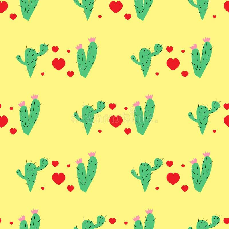Patroon met het beeld van twee cactussen en rode harten op een gele achtergrond vector illustratie