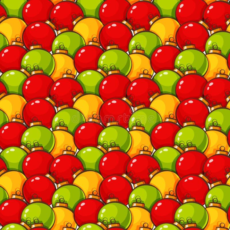 Patroon met Kerstmisballen Vector naadloze achtergrond stock illustratie