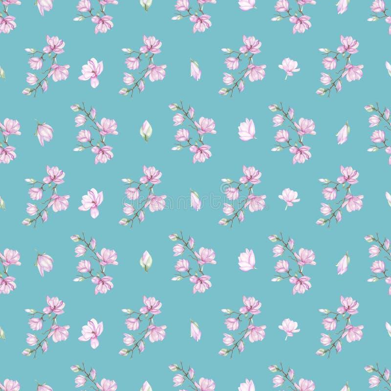 Patroon met kleine magnolia's vector illustratie