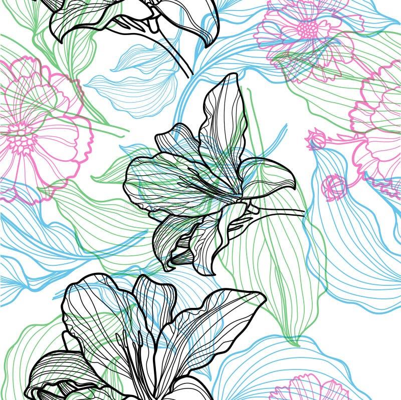 Patroon met kleurrijke bloemen stock illustratie