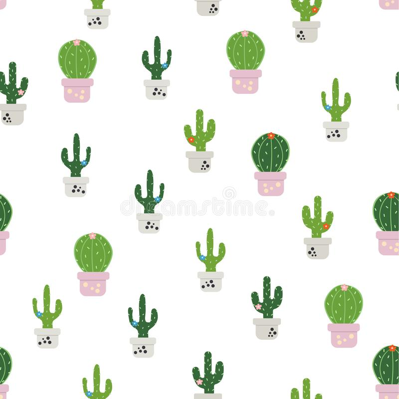 Patroon met kleurrijke cactus stock illustratie