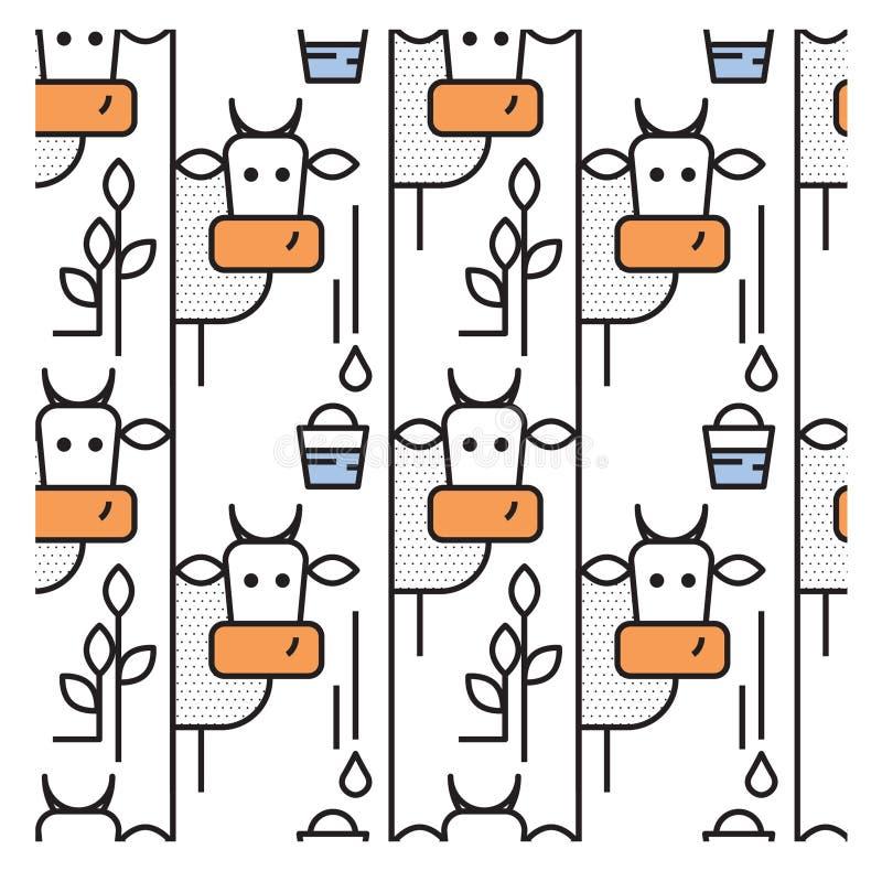 Patroon met koeien en een emmer melk royalty-vrije illustratie