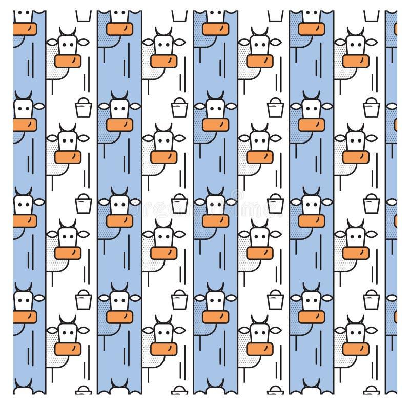 Patroon met koeien en een emmer melk stock illustratie