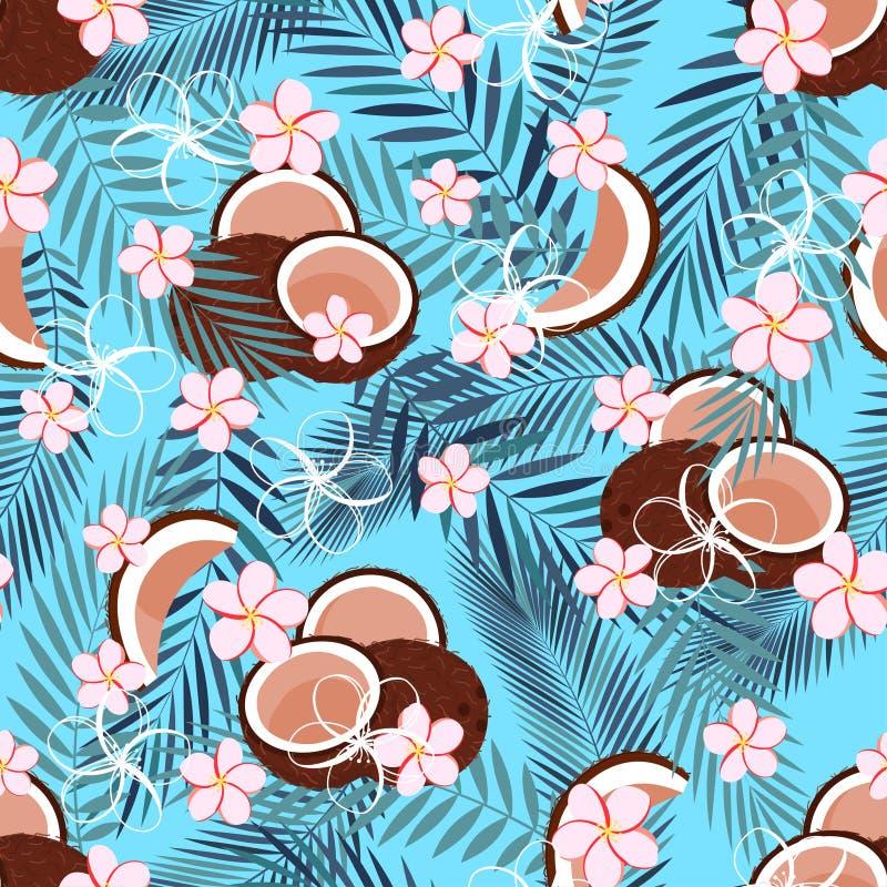 Patroon met kokosnoot op blauw stock illustratie