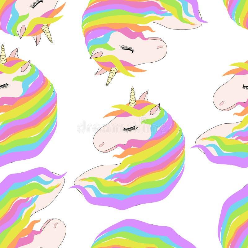 Patroon met leuke gezichten van eenhoorns Het dromen eenhoorns royalty-vrije illustratie
