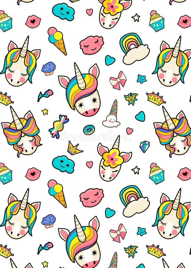 Patroon met leuke gezichten van eenhoorns, roomijs, sterren, harten, doughnut, regenboog, kronen, cupcake royalty-vrije illustratie