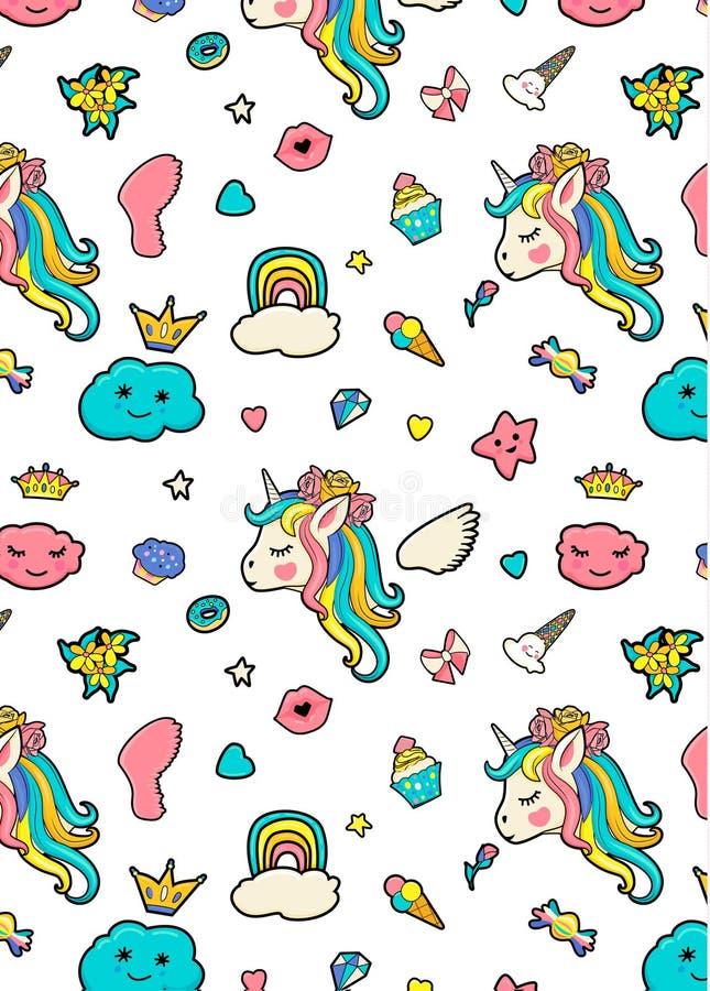 Patroon met leuke gezichten van eenhoorns, roomijs, sterren, harten, doughnut, regenboog, kronen, cupcake, vleugel, wolk vector illustratie