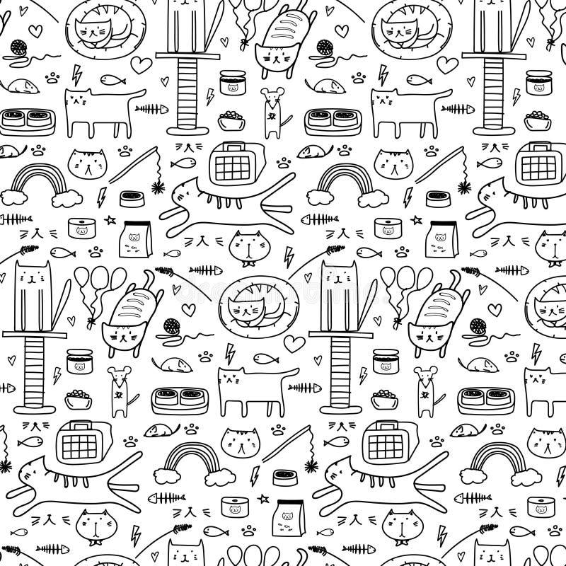 Patroon met Lijnhand Getrokken Krabbel Mooie Cat Background Grappige krabbel royalty-vrije illustratie