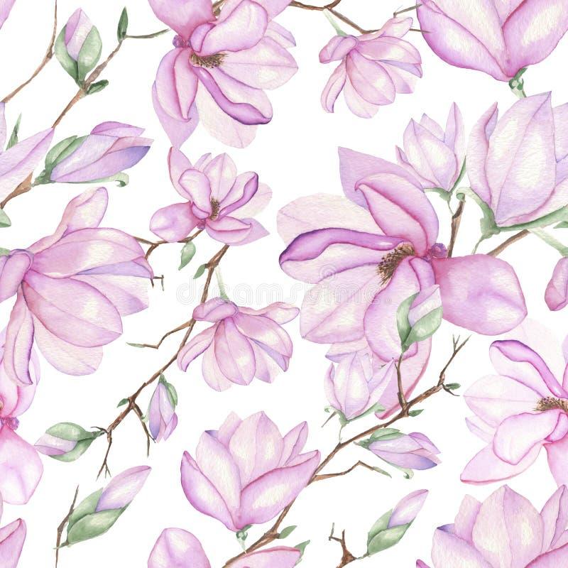 Patroon met magnolia's stock illustratie