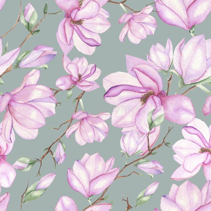 Patroon met magnolia's royalty-vrije illustratie