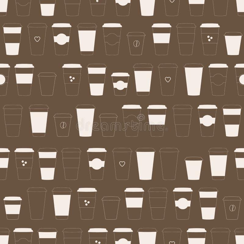 Patroon met meeneemdocument koffiekoppen stock afbeelding