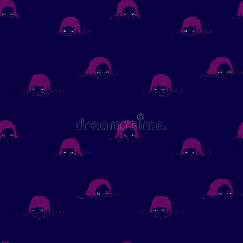 Patroon met meisjesmeerminnen met roze haar, op de oppervlakte van het water royalty-vrije illustratie