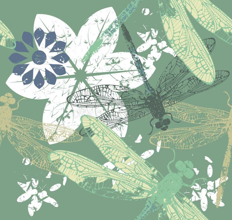 Patroon met modieuze dragonfly& x27; s en bloemen royalty-vrije illustratie