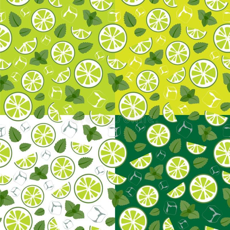 Patroon met mojitoingrediënten stock afbeelding