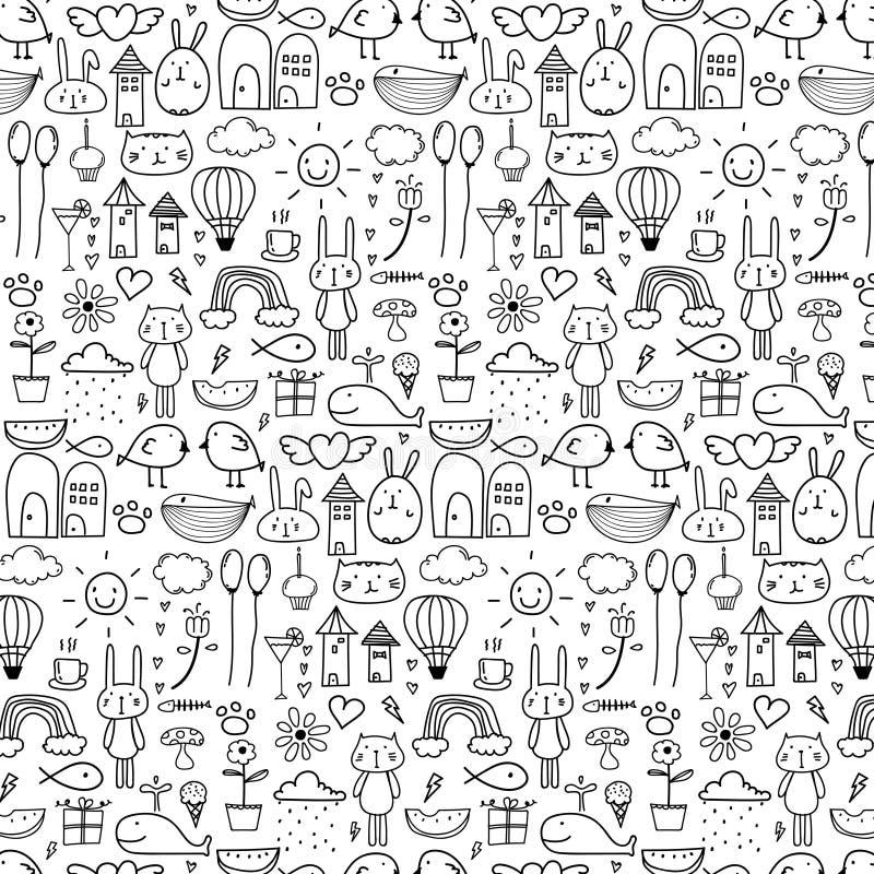 Patroon met Mooie Achtergrond van de Lijn de Hand Getrokken Krabbel voor Jong geitje Grappige krabbel vector illustratie