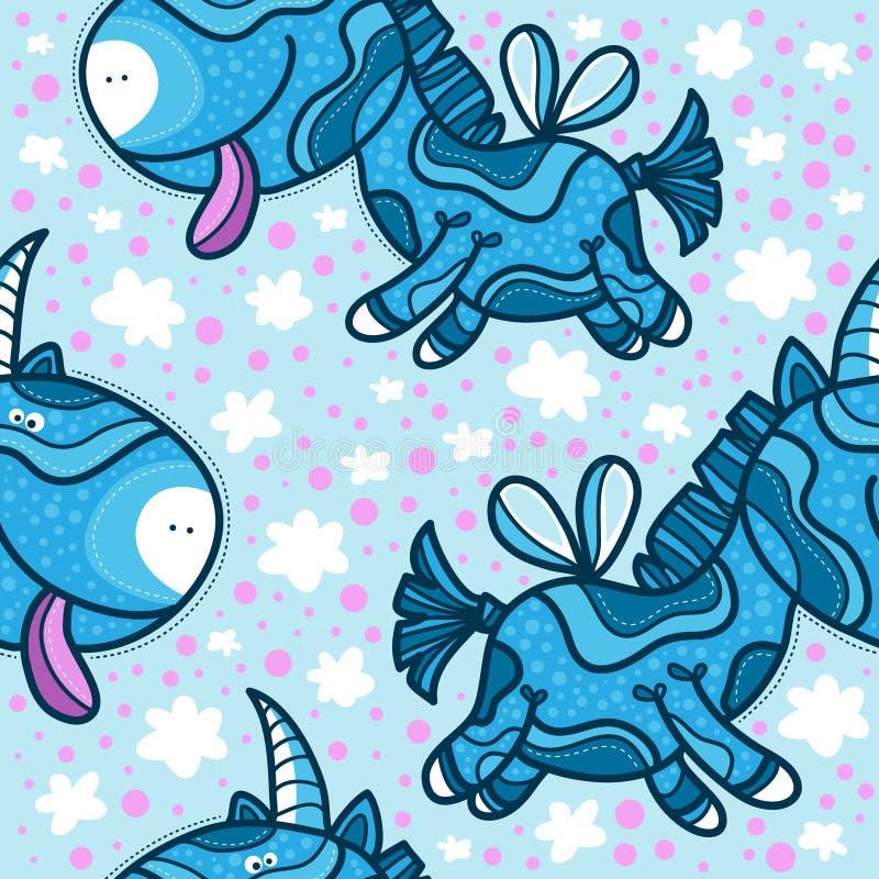 Patroon met mooie beeldverhaal blauwe eenhoorns vector illustratie