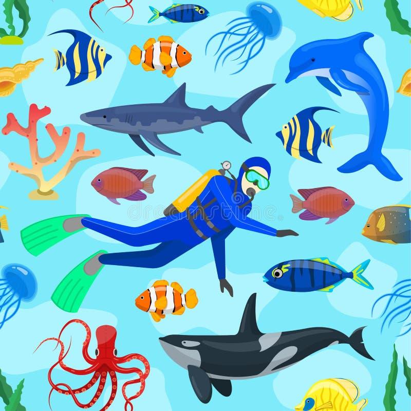 Patroon met oceaandieren en duiker royalty-vrije illustratie