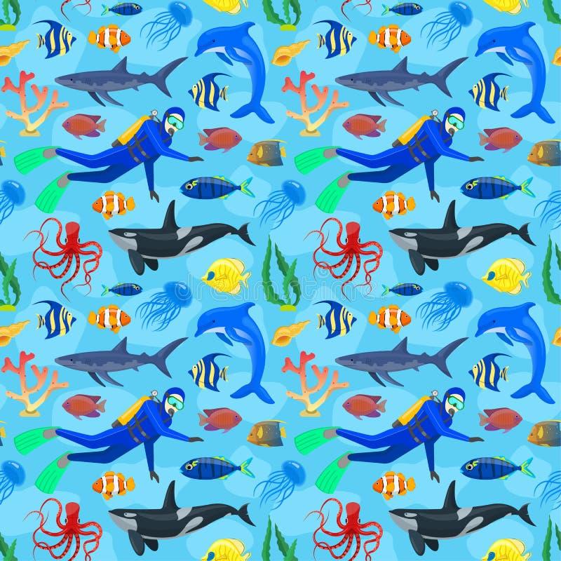 Patroon met oceaandieren en duiker stock illustratie