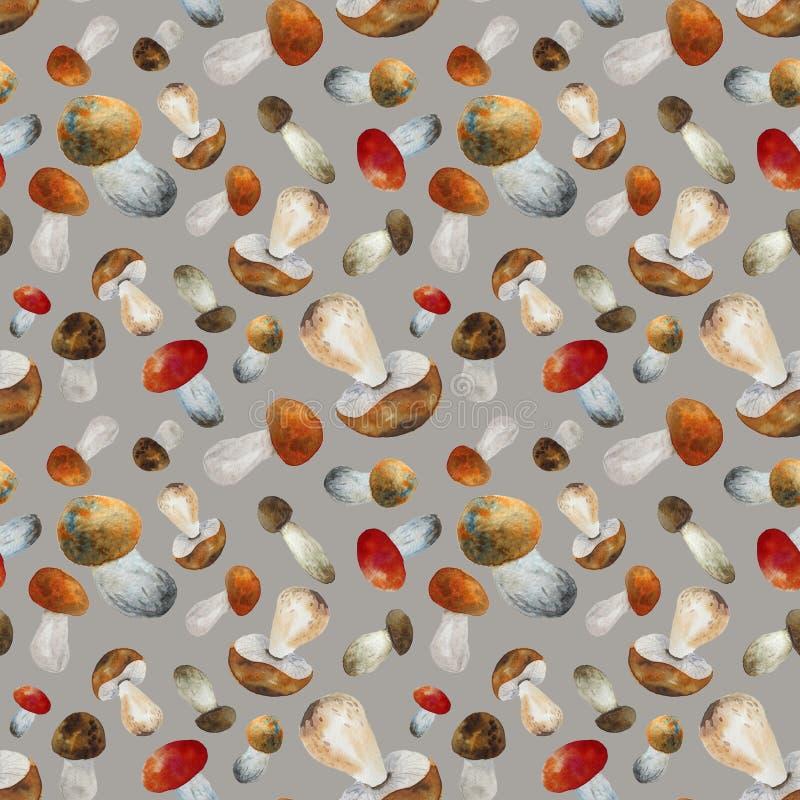 Patroon met paddestoelen stock illustratie