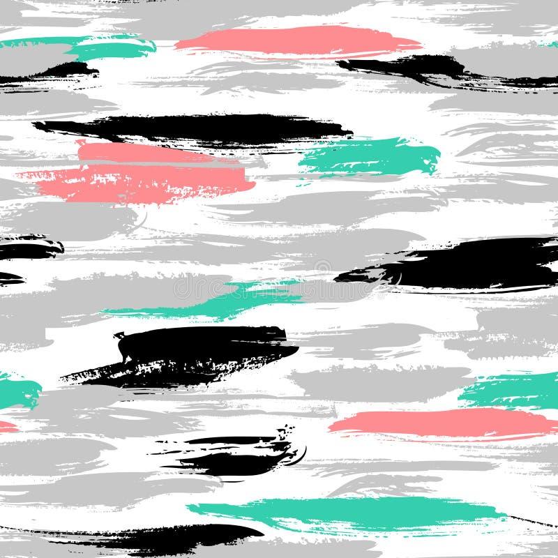 Patroon met penseelstreken en strepen royalty-vrije illustratie