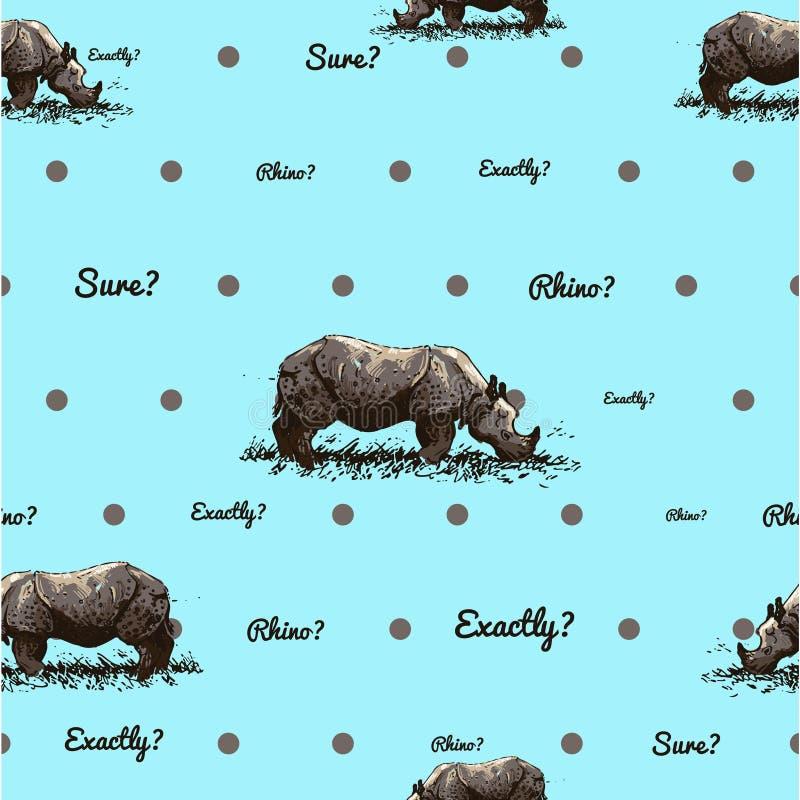 patroon met rinoceros royalty-vrije stock afbeeldingen