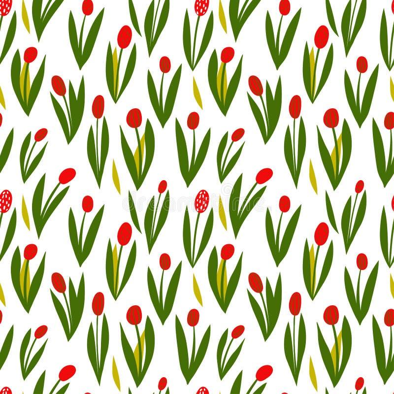 patroon met rode tulpen, de lente bloeiende bloemen, Nederlandse tulpen vector illustratie