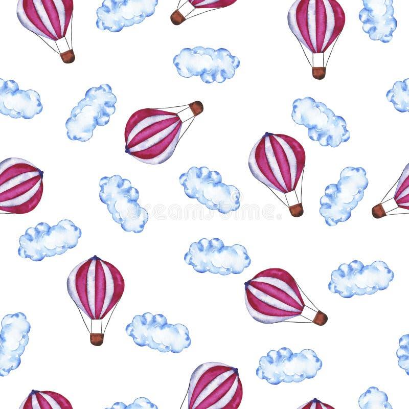 Patroon met roze hete lucht a stock illustratie
