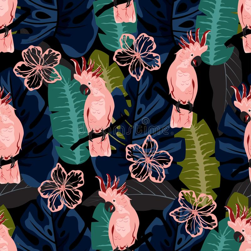 Patroon met roze papegaai stock illustratie