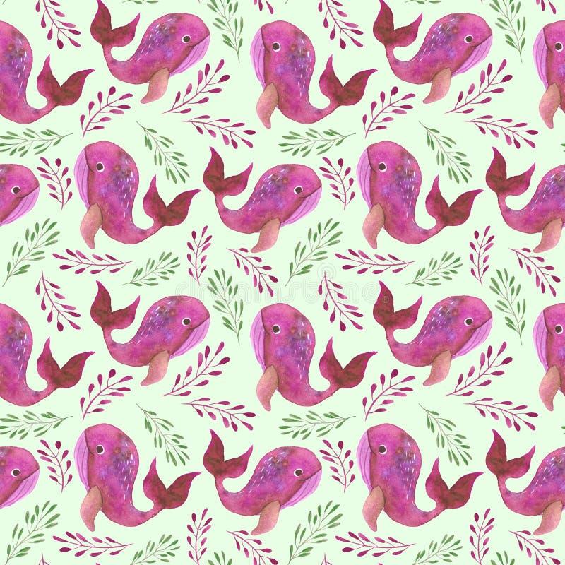 Patroon met roze walvissen vector illustratie