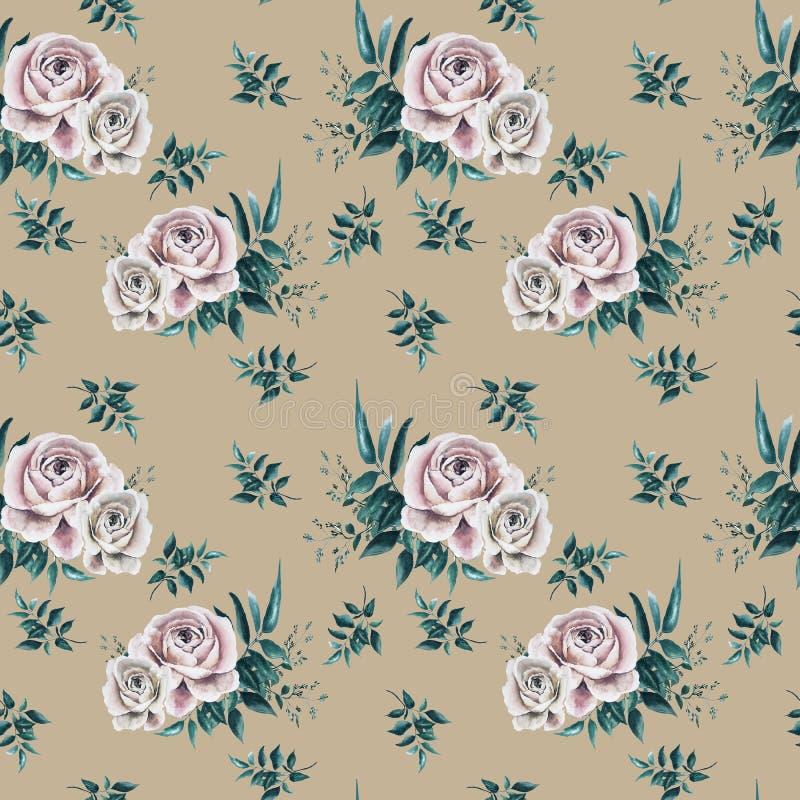 Patroon met rozen royalty-vrije illustratie