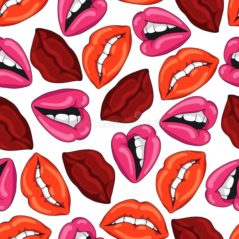 Patroon met sexy rode lippen Vector illustratie EPS10 royalty-vrije illustratie