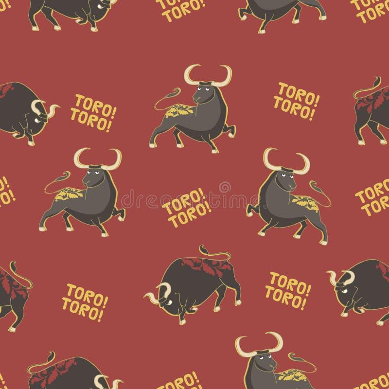 Patroon met stieren vector illustratie