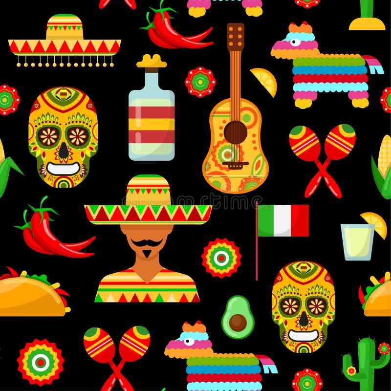 Patroon met traditionele Mexicaanse attributen vector illustratie