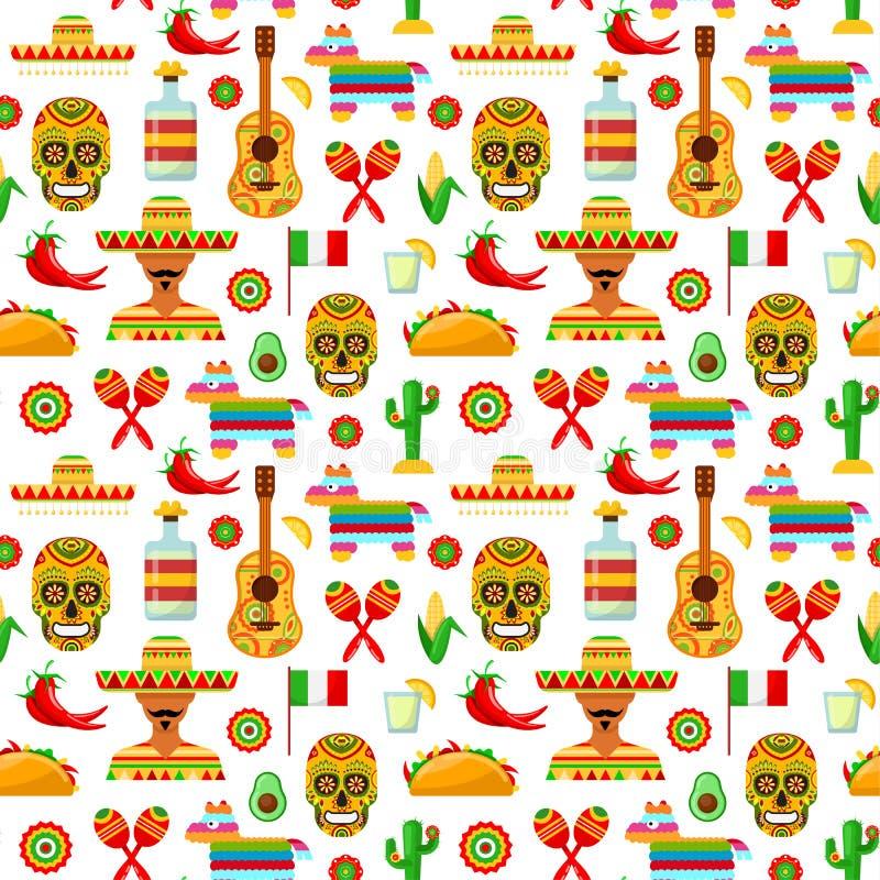 Patroon met traditionele Mexicaanse attributen royalty-vrije illustratie