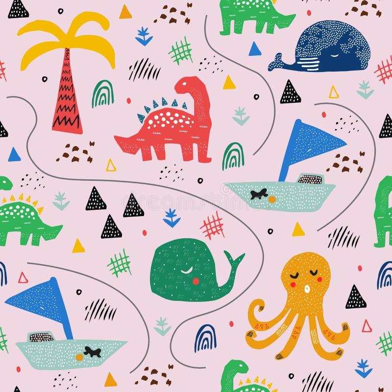 Patroon met tropische wilde dieren De jongensillustratie en tekening van het jonge geitje drawing Abstract kinderachtig art. Het  stock illustratie
